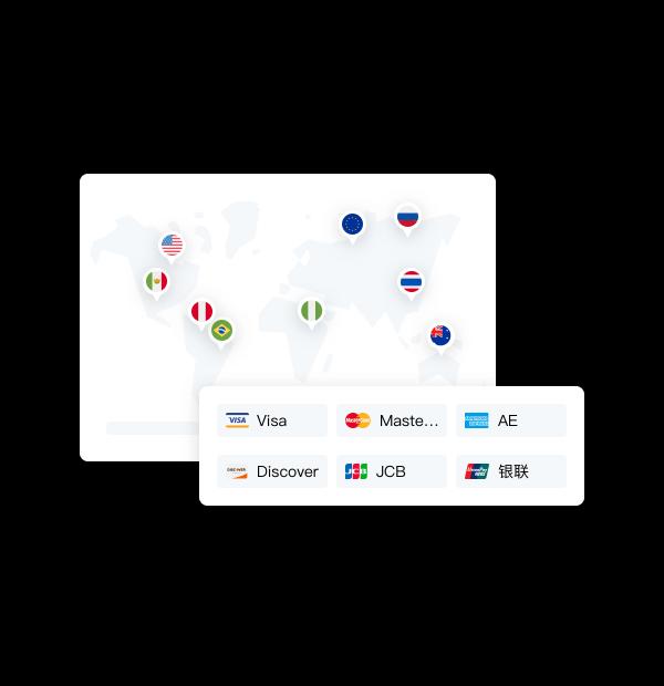 为独立站商户<br/>连接全球主流支付方式